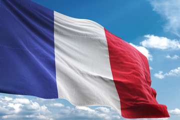 France flag waving sky background 3D illustration