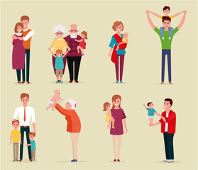 Set of happy family, illustration of groups different families. Colorful vector illustration in flat cartoon style.
