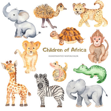 Watercolor cute cartoon African animals. Zebra, giraffe, crocodile, elephant, lion for cards, invitations, logos, baby shower, prints, travels.