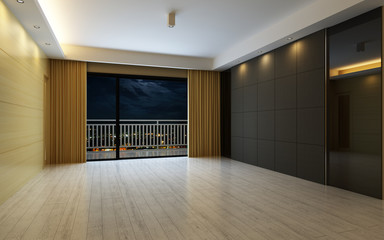 3d Illustration Beautiful Bright Warm Room, Decorated with Curtain and Parquet Floor