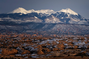 Sunlit LaSal Mtns in the evening;  Arches National Park;  Utah