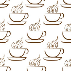 Coffee background. Seamless pattern. Cups on white background.