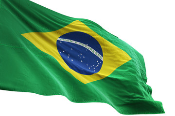 Brazil flag waving isolated white background 3D illustration Wall mural