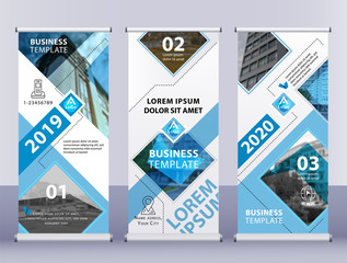 Roll up business banners. Vertical blue gray template vector Abstract background.