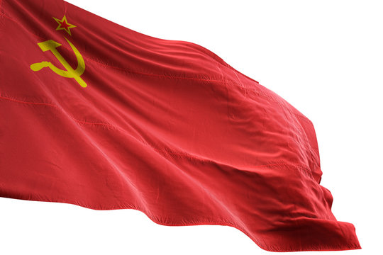 Soviet Union flag waving isolated white background 3D illustration