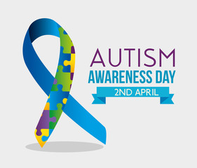 ribbon puzzles and ribbon to autism day