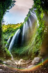 Majestic Madakaripura Waterfall flowing in rocky valley, Tallest waterfall in Deep Forest in East Java, Indonesia.