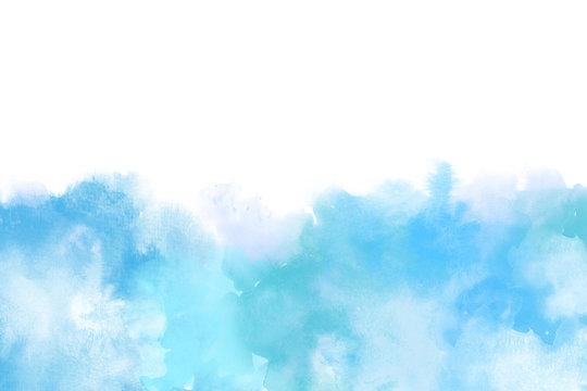 Blue Artistic Watercolor Backround isolated on white