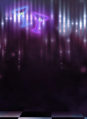 3d illustration of club interior with blue and pink background with glitters