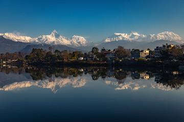The most beautiful reflection of Annapurna range on Phewa lake in Pokhara