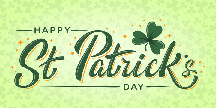 Happy St. Patrick's Day lettering poster with green shamrock and orange stars on light green clover background. For greeting cart, poster, banner, flyer, web pages, social media. Vector illustration