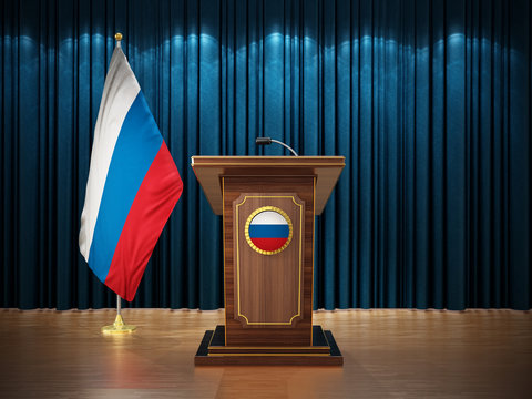 Press conference with flags of Russia and lectern against the blue curtain. 3D illustration