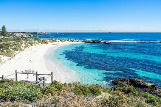Pinky Beach is a popular beach on Rottnest Island. Crystal clear water during beautiful day on Rottnest Island, Perth, Western Australia.