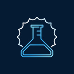 Conical flask outline colored vector icon or design element on dark background