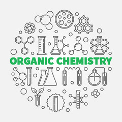 Organic Chemistry vector concept round illustration in thin line style