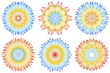 Set of 6 Ornamental Arabic Pattern With Mandala. Vintage Vector For Print Or Web Design. Invitation, Wedding Card, National Design. Rainbow color