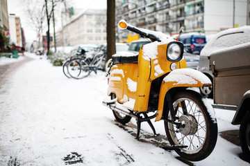 Scooter old classic vintage yellow motor scooter