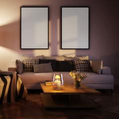 Modern living room interior with mockup frames by evening (centered on sofa) - 3d illustration
