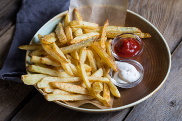 Homemade French Fries with Sauces