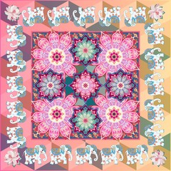 Vibrant square pattern with cheerful indian elephants, mandalas flowers, medallions and paisley in folk style. Carpet, cushion, silk scarf, tea box design.