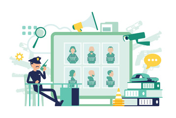 Policeman working in a police station office. Male officer sitting at workplace, professional symbols and tools design, wanted poster with criminals. Vector abstract illustration, faceless characters