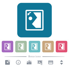 Rotate image left flat icons on color rounded square backgrounds