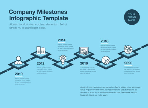 Simple infographic for company milestones timeline template with 3d rhombus and line icons isolated on blue background. Easy to use for your website or presentation.