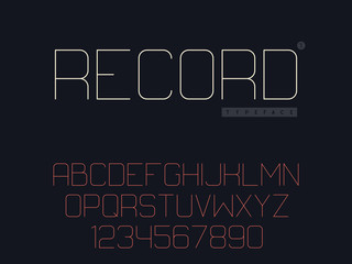 Vector thin line uppercase font. Latin alphabet letters and numbers