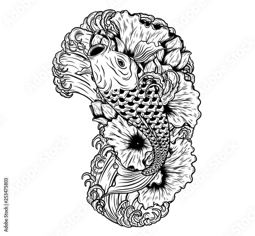 bb7326d3a2cb8 Carp fish with lotus vector tattoo by hand drawing.Beautiful fish on white  background.