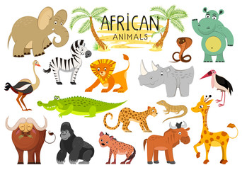 African animals collection isolated on white background. Illustration