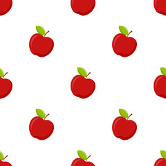 Seamless pattern with apple on white background