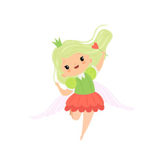 Cute Little Winged Fairy with Light Green Hair, Beautiful Girl Princess Character in Fairy Costume with Magic Wand Vector Illustration