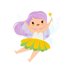 Lovely Little Winged Fairy with Long Lilac Hair, Beautiful Flying Girl Character in Fairy Costume with Magic Wand Vector Illustration