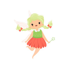 Cute Little Winged Fairy with Braids, Lovely Flying Girl Character in Fairy Costume with Magic Wand Vector Illustration