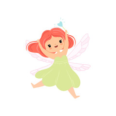 Cute Little Winged Fairy Flying with Magic Wand, Beautiful Redhead Girl Character in Fairy Costume Vector Illustration