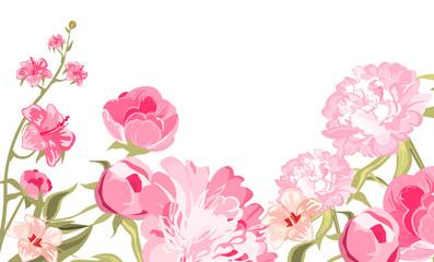 Vintage Flower Card. Vector Illustration