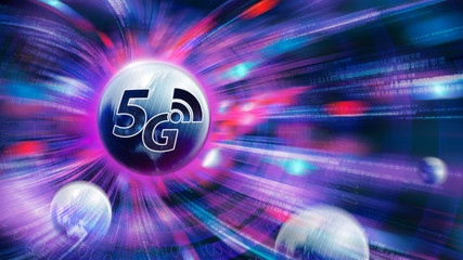 5G speed network wireless systems and internet of things with motion blur background.