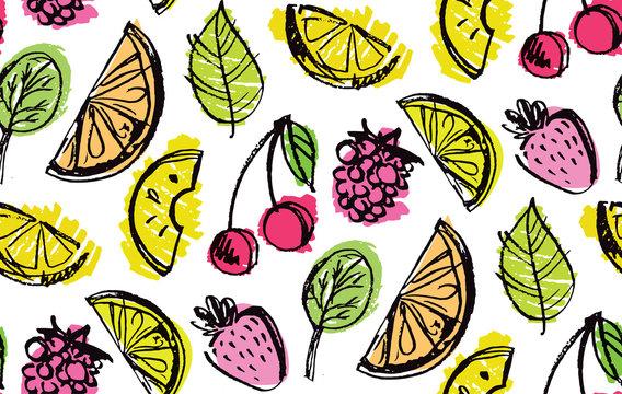 Hand drawn doodle fruit pattern background