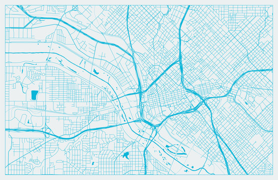 Blue and White vector city map of Dallas