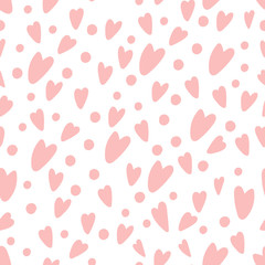 Gently pink hearts and circles. Love concept. Delicate pattern in cartoon style.