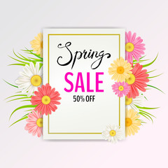 Spring Sale Banner. Hand drawn lettering. Background with chamomile, daisy, leaf and colorful flowers. Vector Design for your greetings card, flyers, web banner , invitation, posters, brochure