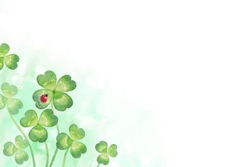 背景:四つ葉のクローバーとてんとう虫(4)