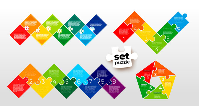 Set of pieces puzzle square diagram. Square business presentation infographic. 5, 6, 7, 9 steps parts pieces of process diagram. Jigsaw puzzle info graphic. Section compared banner. Marketing strategy