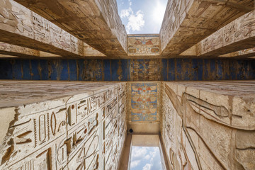 Temple of Medinet Habu. Egypt, Luxor. The Mortuary Temple of Ramesses III at Medinet Habu is an important New Kingdom period structure in the West Bank of Luxor in Egypt