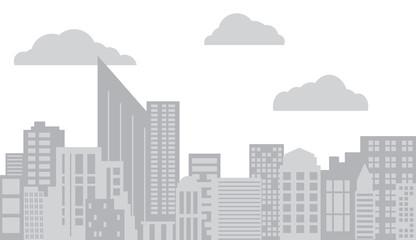 Vector flat gray city skyline panorama