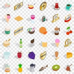 Different beverage icons set. Isometric style of 36 different beverage vector icons for web for any design