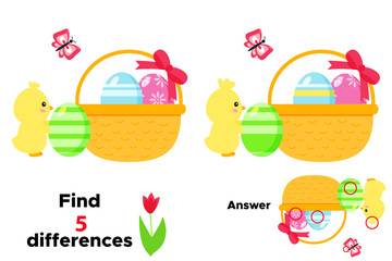 Cute cartoon chick with Easter egg and basket. Educational game for children. Find 5 differences. Vector illustration.