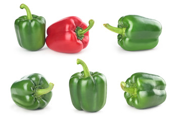 set of green pepper on a white background