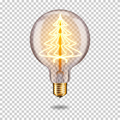Wall Mural - Realistic transparent glowing vintage light bulb with christmas tree, isolated.