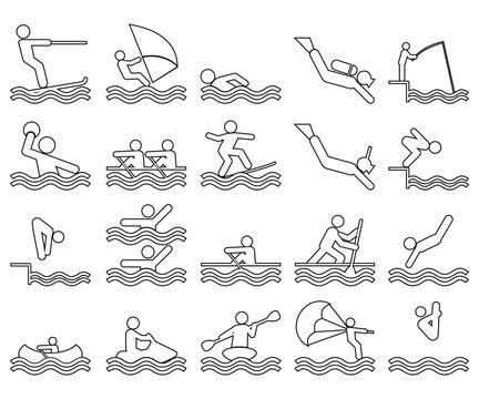 Set de iconos lineales de deportes acuáticos en color negro